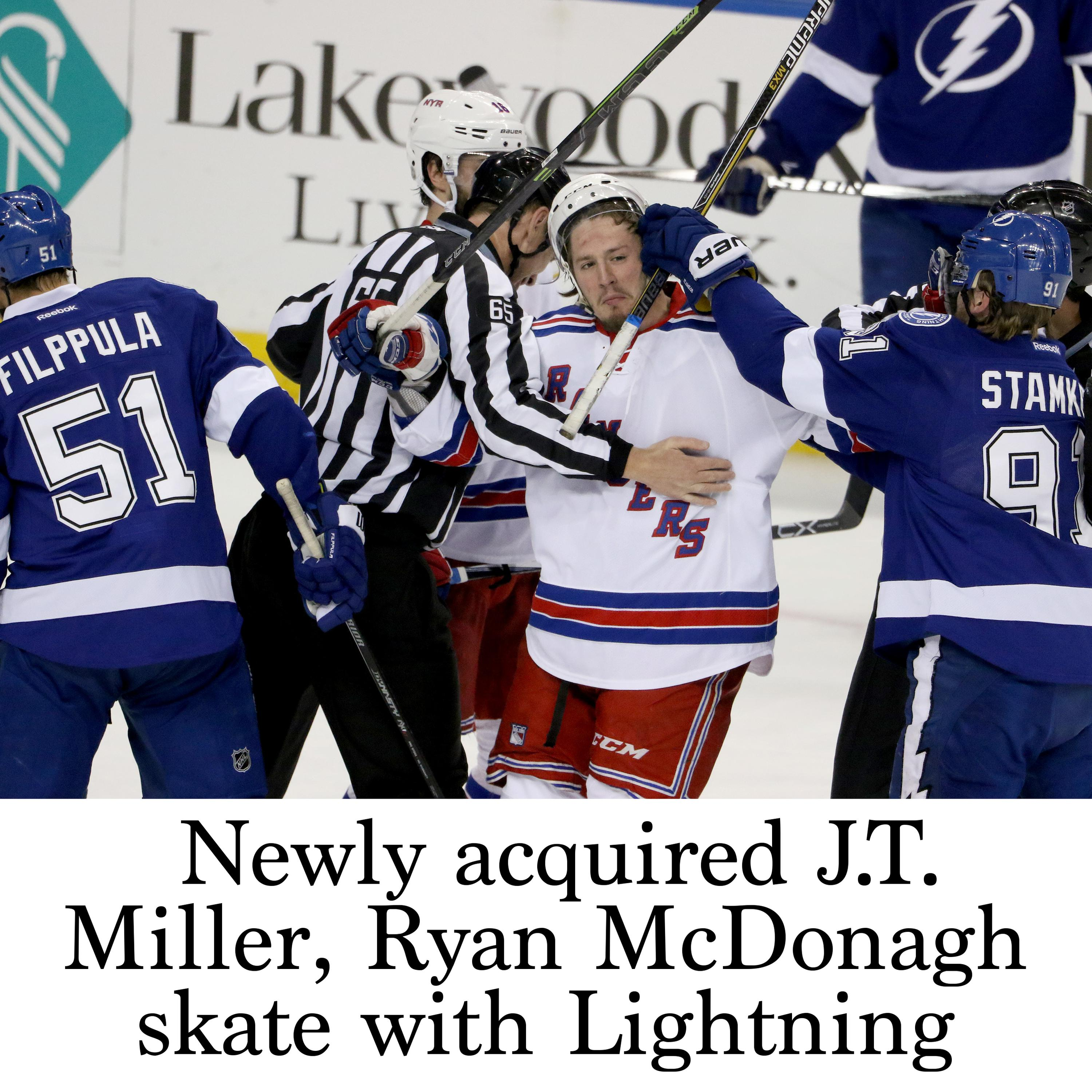 huge discount 59769 1ab70 Newly acquired J.T. Miller, Ryan McDonagh skate with Lightning