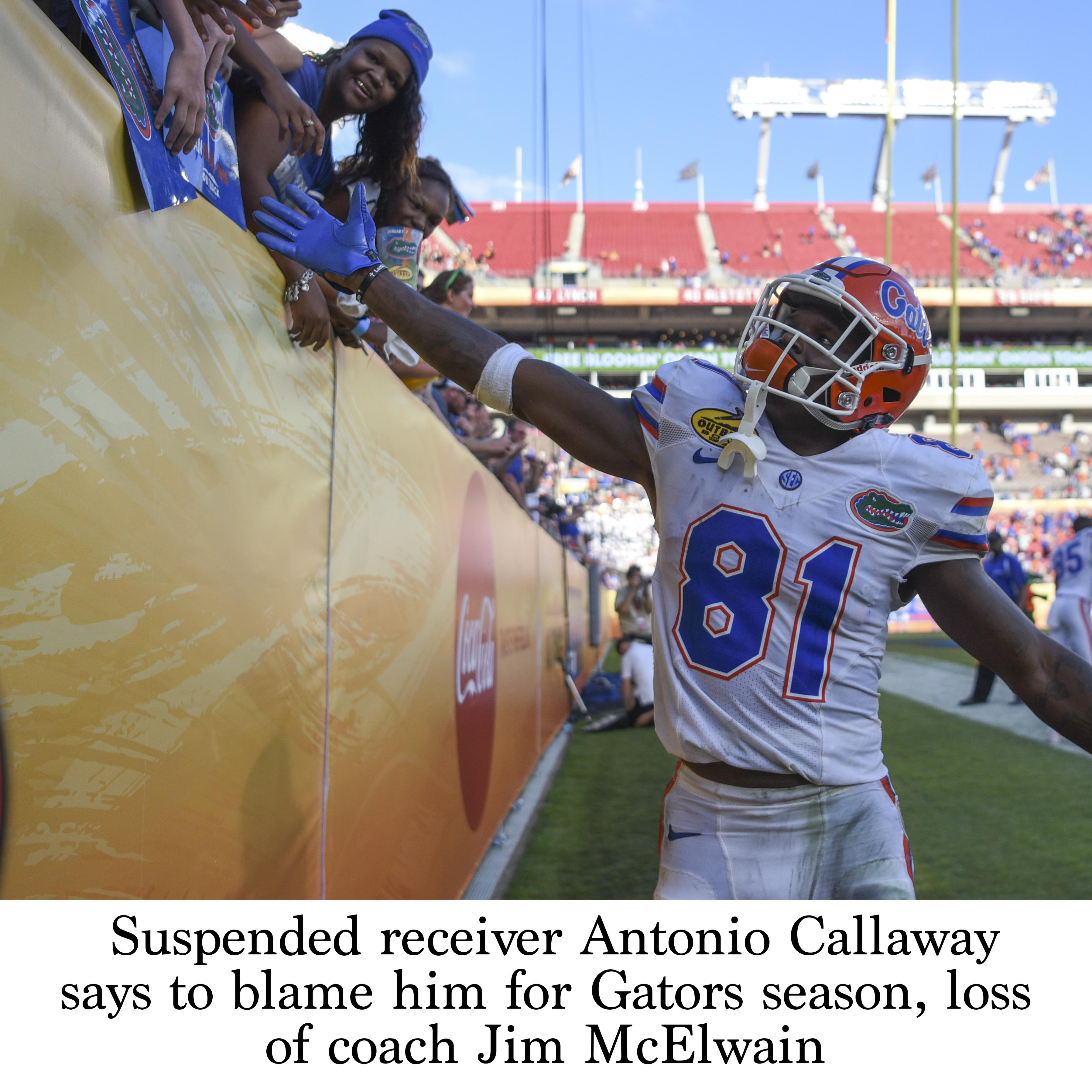 huge selection of d40c6 971bd Suspended receiver Antonio Callaway says to blame him for ...