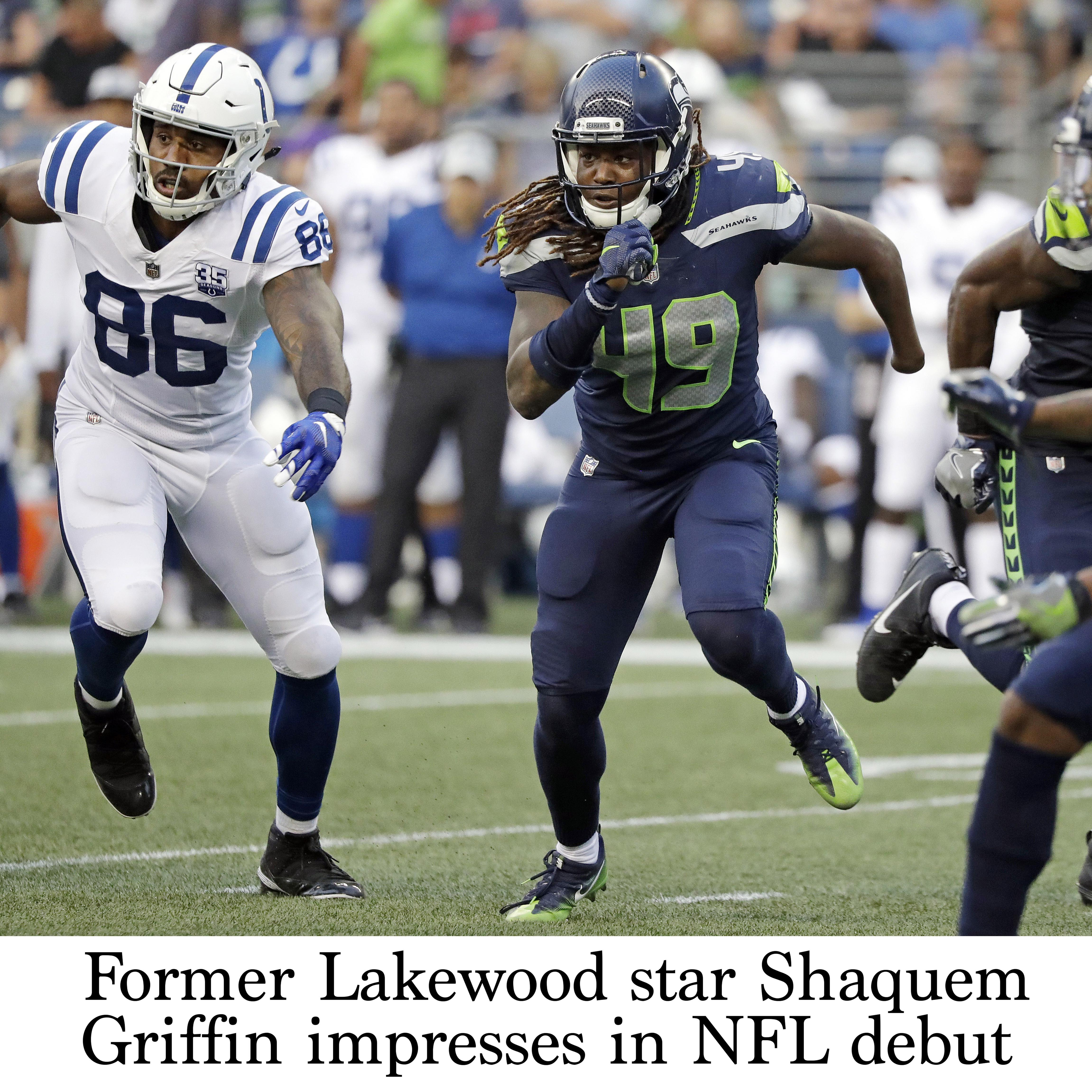 new style ebc5c 69ca6 Former Lakewood star Shaquem Griffin impresses in NFL debut