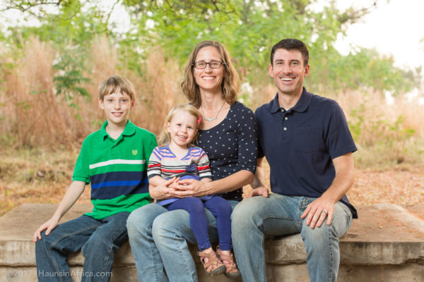 The Haun Family in Ghana, Trey, KJ, Heidi and William (left to right)