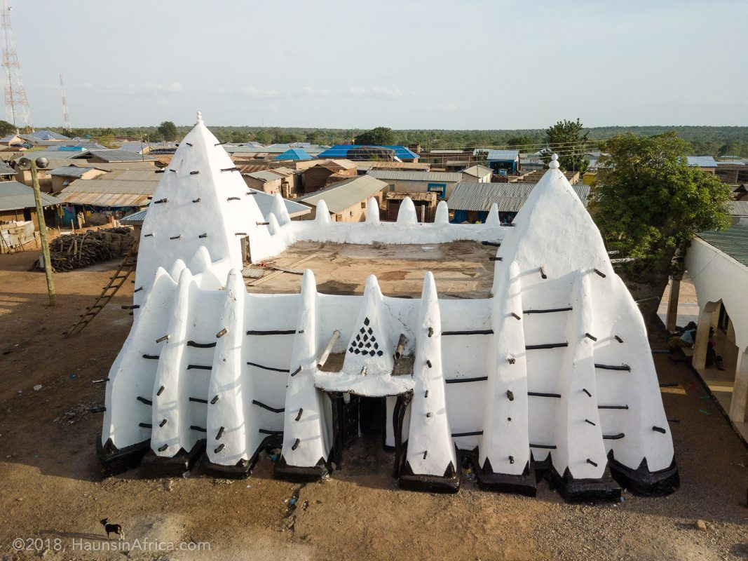 Aerial view of Larabanga Mosque in Ghana.