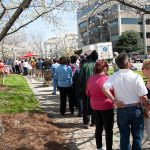 The long line for free cherry ice cream in Third Street Park at the 2009 Cherry Blossom Festival in Macon, GA.
