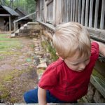 Trey climbs onto the front porch of Traveler's Rest Historic Site