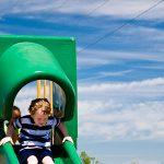 Griffin enjoys a slide