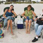 Summer Jensen, Nana, and Fern Jensen at the beach with Trey