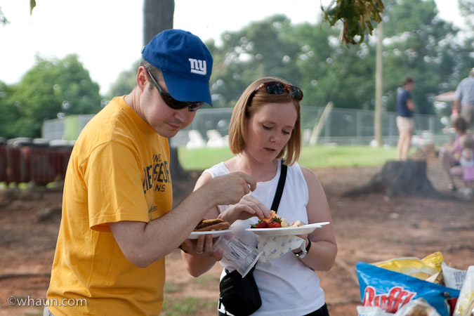 Jym & Allison Davis of Canton, GA get some food at the Hauns' celebration cookout at High Falls State Park. William Haun and his 2 year-old son Trey visited all 63 of Georgia's State Parks and Historic Sites from July 2008 to July 2009.