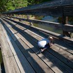 Trey looks through the cracks on the swinging bridge