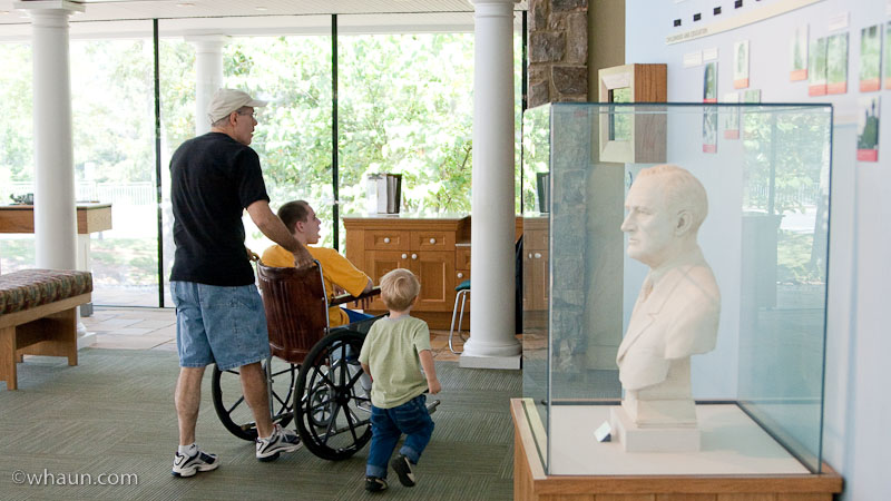 Daddy, Philip, and Trey head into the museum at Little White House in Warm Springs, GA