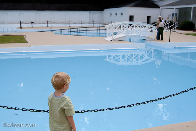 Trey looks longingly at the pool of beautiful warm water