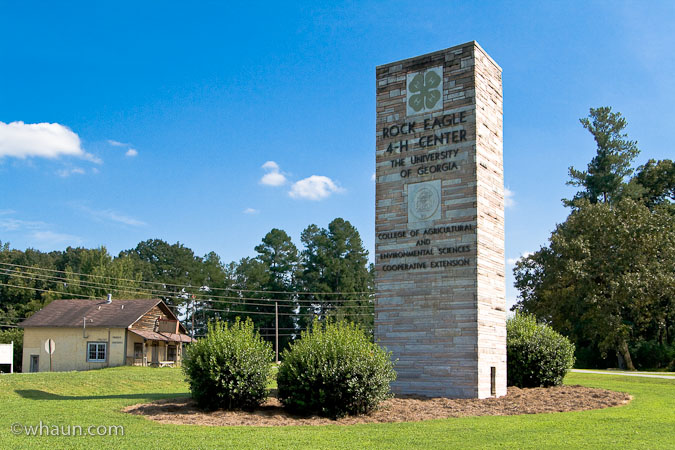 Rock Eagle Mound is located on the University of Georgia's 4-H Center property just north of Eatonton, GA on Hwy 129.