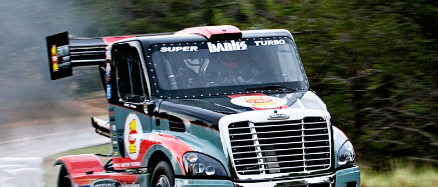 Semi Truck Banks Freightliner Super Turbo Pikes Peak 1949 Dodge Insider Power Products Race Shop Trucks Vehicles Clean Diesel Density Events Gale Intercooler Magazine Articles