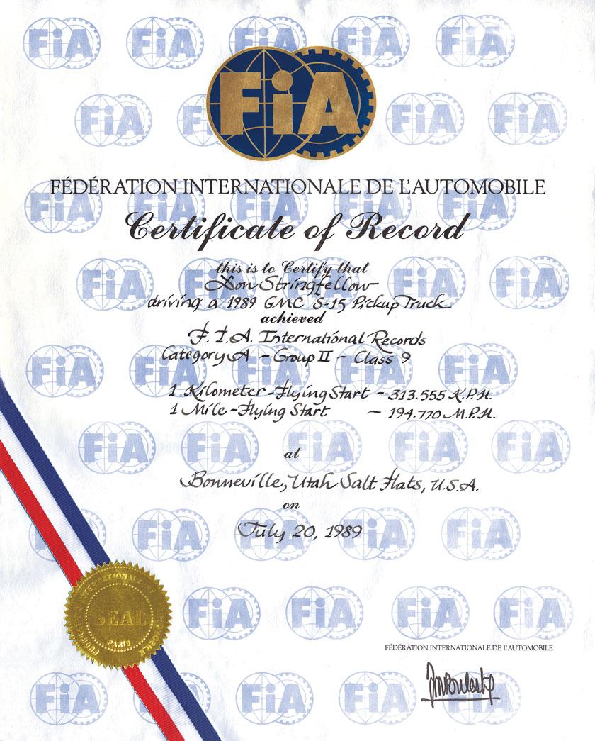 Syclone - July 20, 1989 FIA Record 194.770 mph