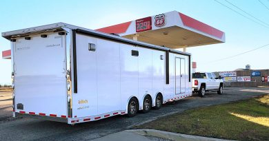 Driving from California to Indiana to pick up his new 7,200 lb all-aluminum custom race trailer