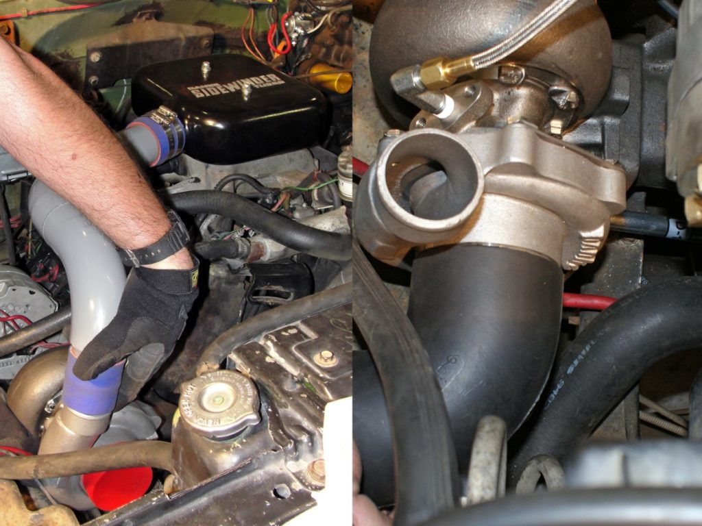 The turbo can now be installed. Use a piece of blue silicone hose and hose clamps to attach the turbo drain tube to the lift pump spacer plate and tube. The turbo is secured to the exhaust manifold using stainless collet locknuts. After the turbo has been installed, the boost tube can be re-installed.
