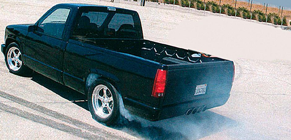 Banks Rat Rod Shop Truck doing a burnout