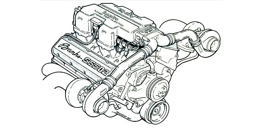 Banks Twin-Turbo Engine illustration