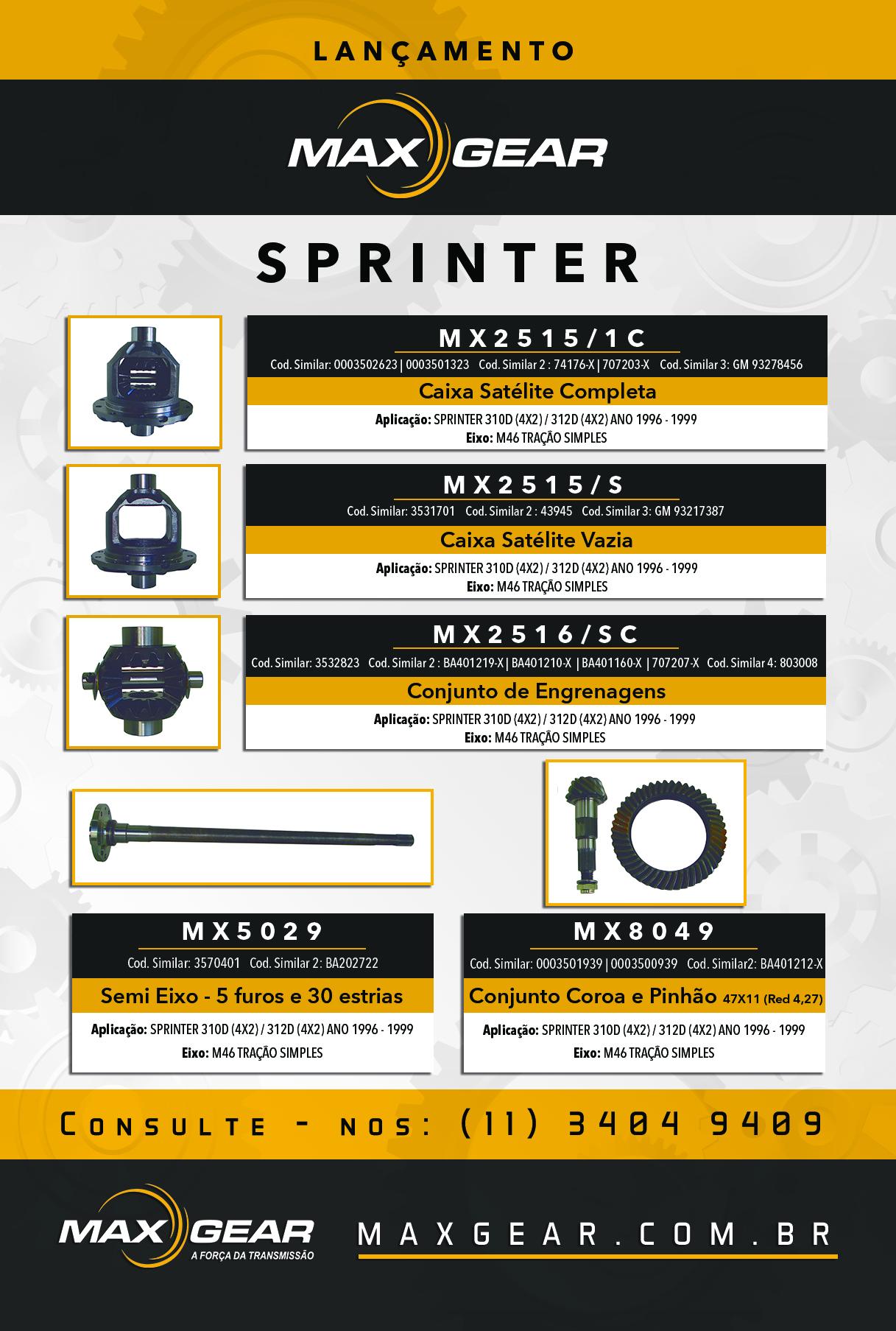 SPRINTER 310D (4X2) / 312D (4X2) ANO 1996 – 1999 – EIXO: M46 TRAÇÃO SIMPLES