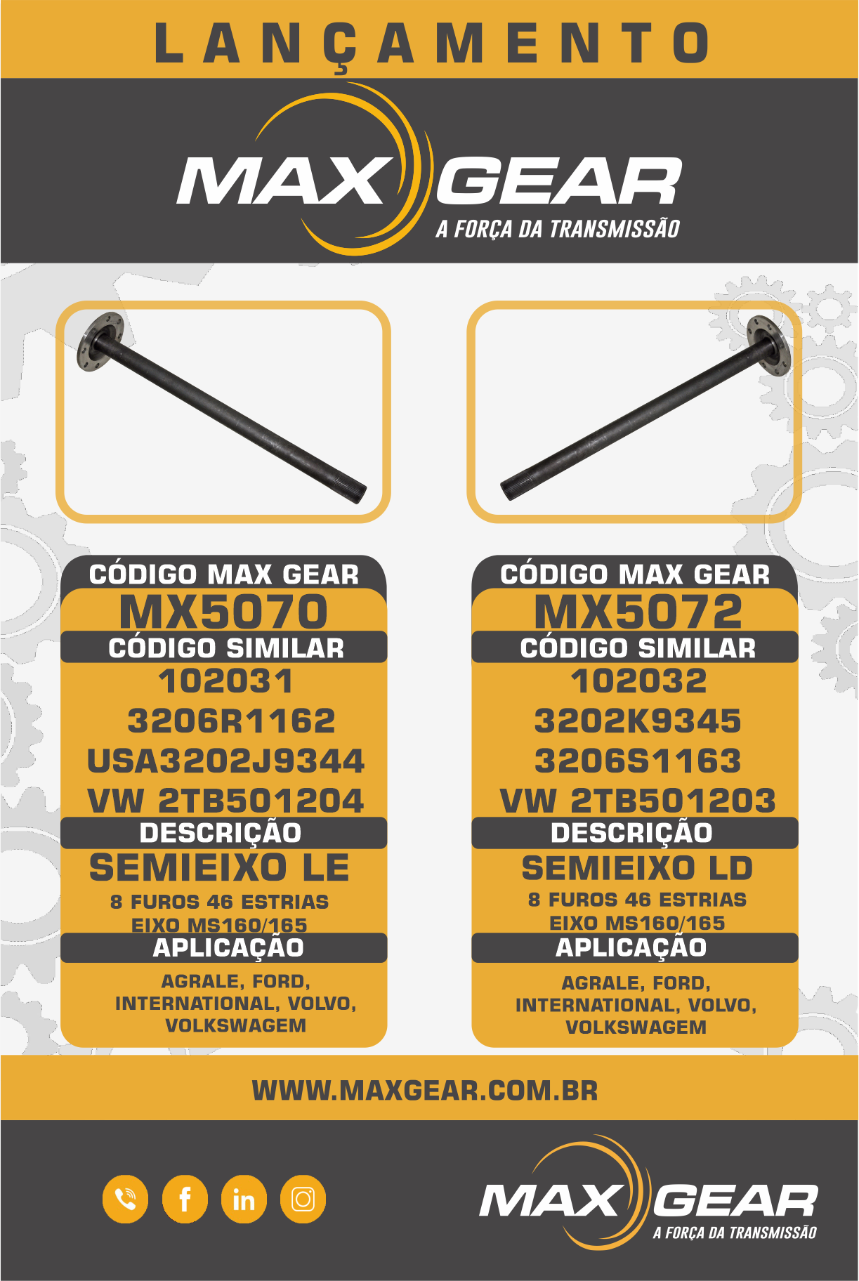 LANÇAMENTO MX5070 & MX5072