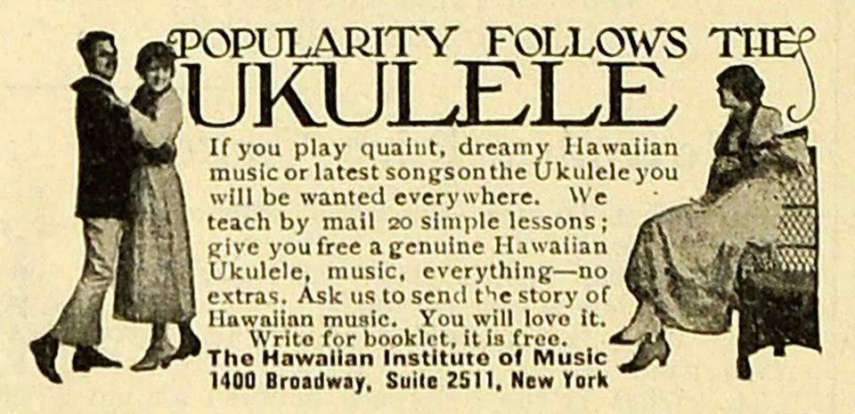 old magazine ad for ukulele course