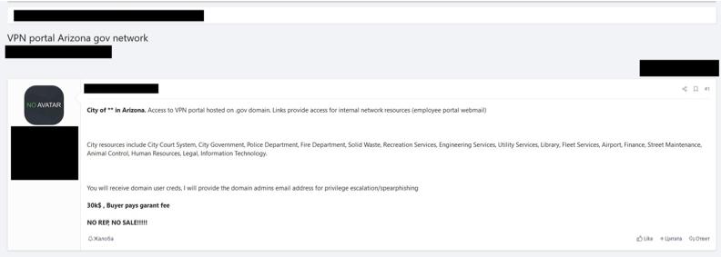 A screenshot of an underground hacker forum posting