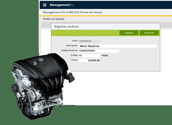 Punto de venta, motores y refacciones