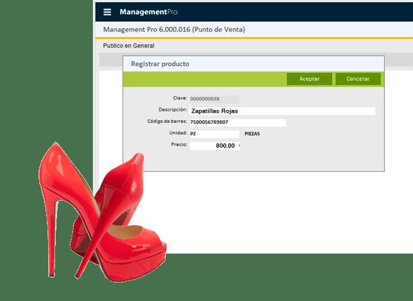 Registrar productos en el Punto de Venta Zapaterías