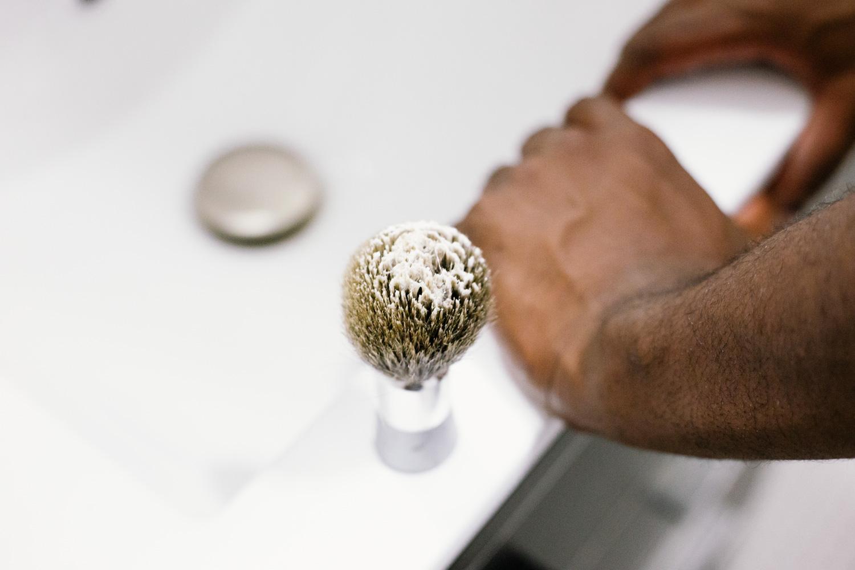 Image of Bevel Badger brush on sink counter