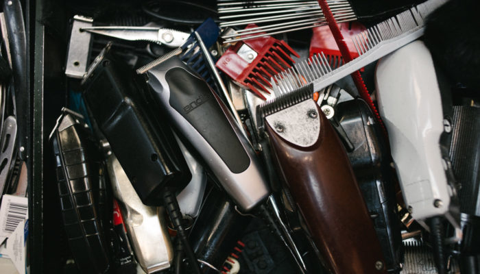 Barbers drawer full of dirty clippers