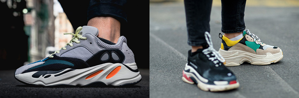 chunky dad sneakers shoes yeezy wave runners balenciaga