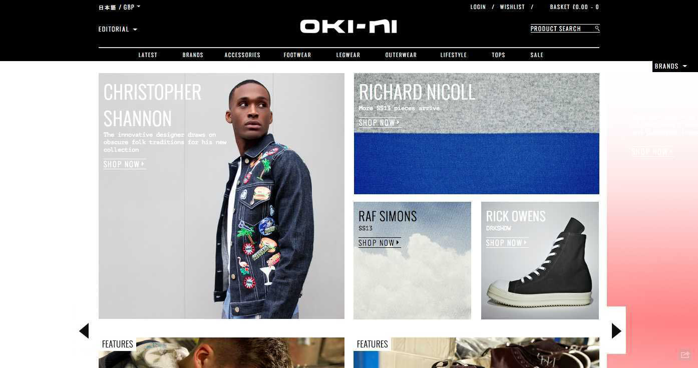 oki-ni online shops menswear mens fashion lifestyle