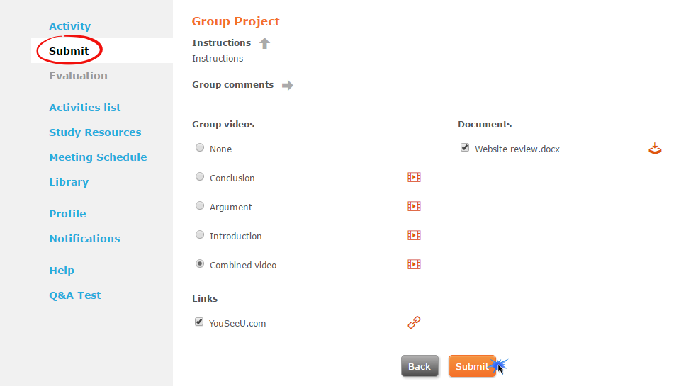 Submit group- Canvas