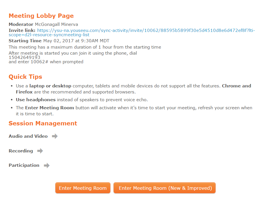 updated meeting lobby page
