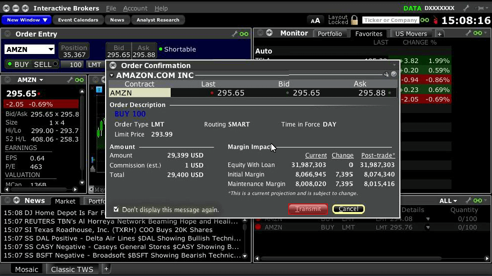 Interactive brokers options order types