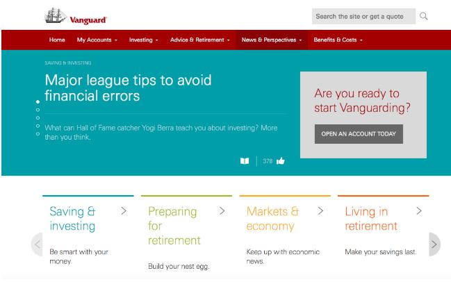 A sampling of Vanguard's website and its products. Source: Vanguard.com
