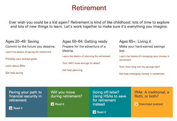 A look at Vanguard's options for retirement investing. Source: Vanguard.com