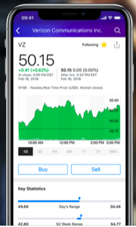 Yahoo Finance's app on an iPhone. Source: iTunes