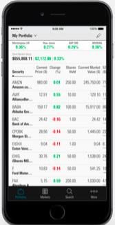 A sampling of Morningstar's portfolio tracking on iOS. Source: iTunes