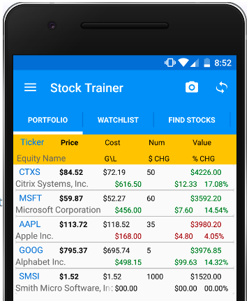 What your portfolio will look like on mobile on Stock Trainer. Source: alifesoftware.com