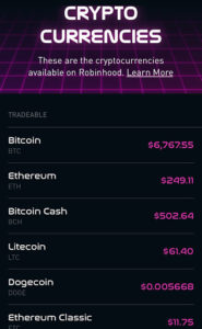 Cryptocurrency Robinhood App