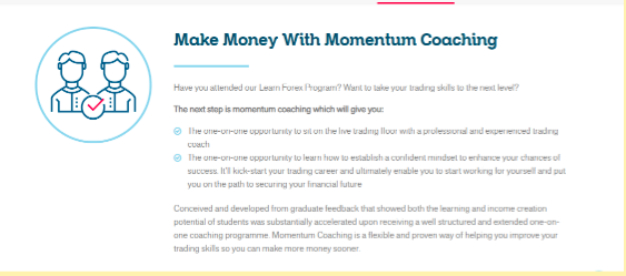 A sample of Mentorship Coaching's offerings. Source: LearnToTrade.com.au
