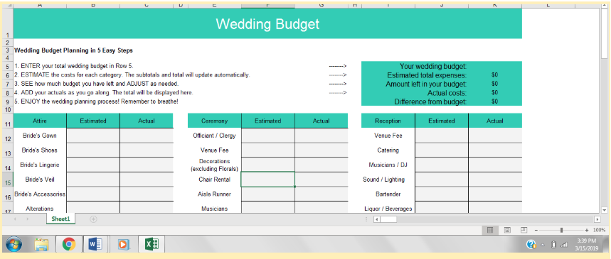 The Best Wedding Budget Spreadsheets For 2019 Benzinga