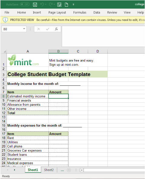 Best budget spreadsheets: mint