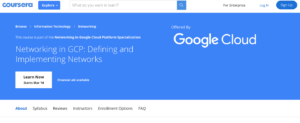 Networking in GCP: Defining and Implementing Networks by Coursera