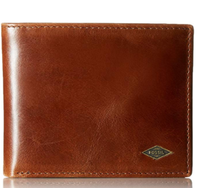 Fossil Men's Ryan Leather RFID Blocking Bifold Flip ID Wallet