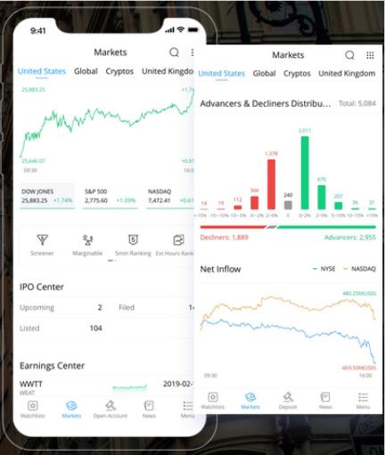 Webull's mobile trading platform. Source: Webull.com
