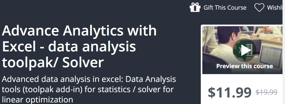 Advance Analytics with Excel - Data Analysis Toolpak/Solver