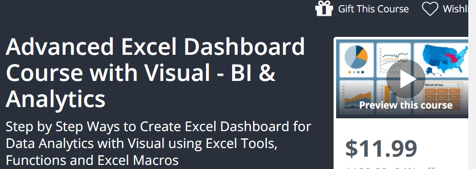 Advanced Excel Dashboard Course with Visual - BI and Analytics