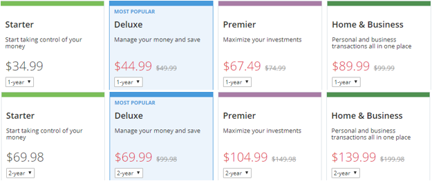 Pricing and packages offered by Quicken