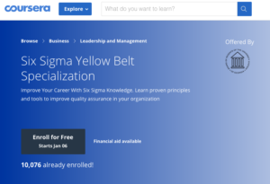 Six Sigma Yellow Belt Specialization