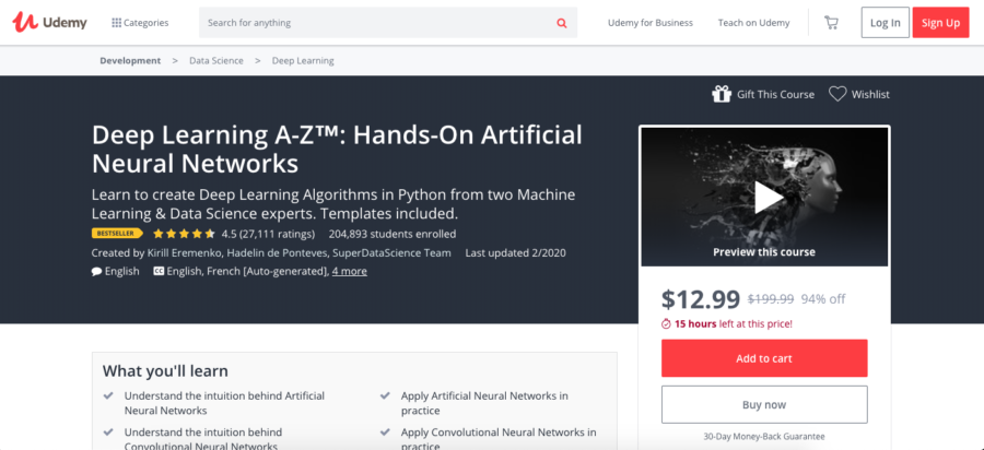 Deep Learning A-Z™: Hands-On Artificial Neural Networks